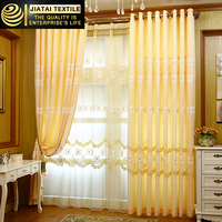 curtain eyelet Yellow Flower pattern,latest curtain designs Window tulle Pastoral Window screen Jacquard decorative curtains