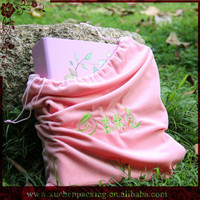 Large Size Drawstring Soft Felt Embroidery Velvet Packaging Bag for Photo Album