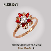 latest design flower shape zircon wedding rose gold rings for women
