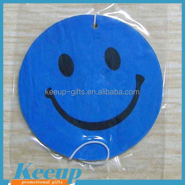 Made in China promotional custom paper cardboard smiley face car hanging air freshener