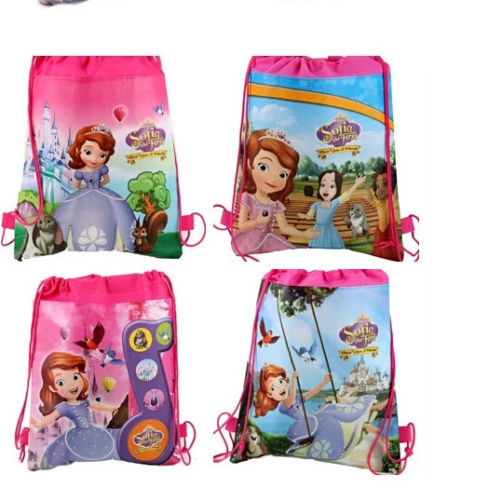 Christmas Eco-friendly Cotton backpack Cute Cartoon Shopping with custom logo Drawing String Bag