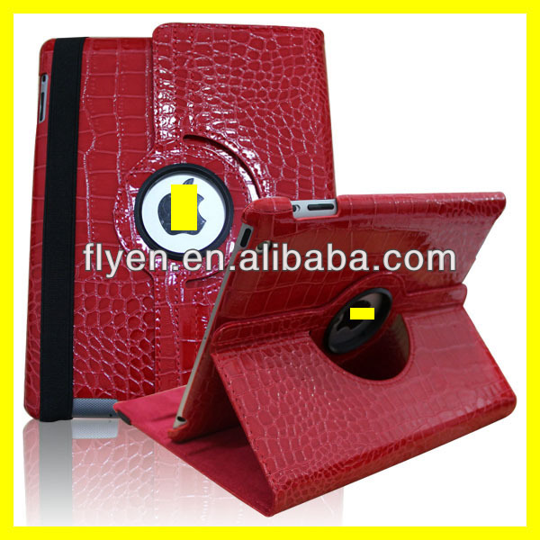 Crocodile skin desgin 360 degree roating case for ipad 4 ipad 3 ipad 2 leather material smart cover with magnetic