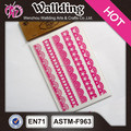 Decorative transparent PVC lace stickers, id lace printing wall decor stickers