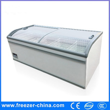 Supermarket chest deep freezers with curved glass door