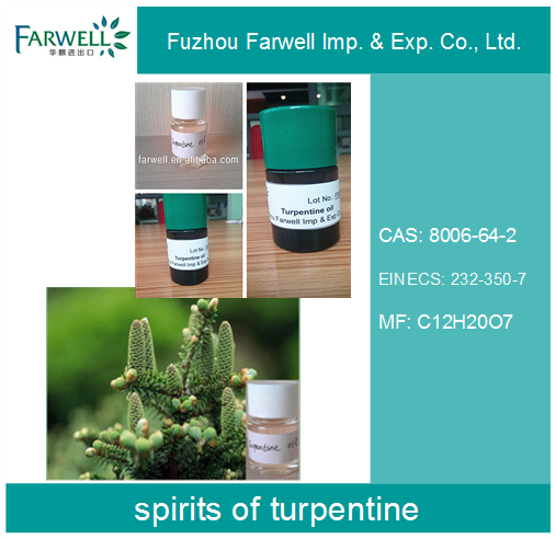 Farwell spirits of turpentine, 85% Gum Turpentine Oil For Mineral Or Medicinal
