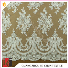 HC-5174-1 Hechun Bead Embroidery White Floral Designs Wholesale France Bridal Lace Fabric