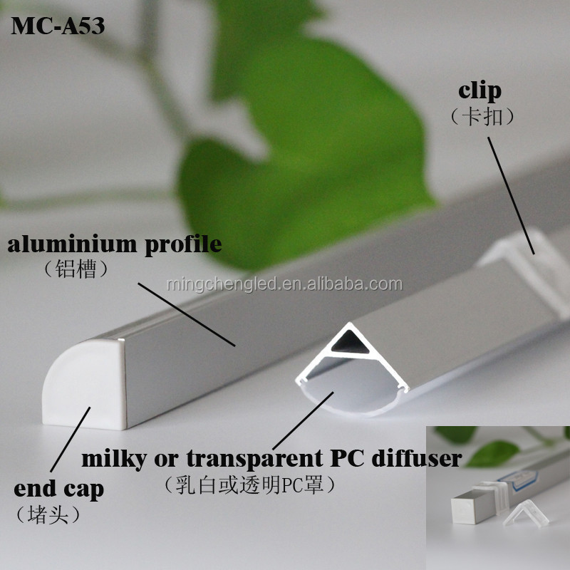 hot led aluminum extrusion with end caps and diffuser in foshan
