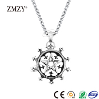 ZMZY brand unique custom design Hollow engraved pentagonal heart 316L stainless steel necklace