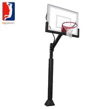 easy assemble inground fixed height basketball hoop with tempered glass basketball board and 18 inch steel rims