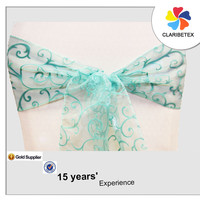 Alibaba light turquoise flocking crystal organza decoration chair sashes