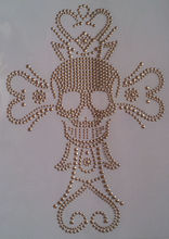 Hot Fix Motif Cross Skull Heart Design Rhinestone Iron on Transfer