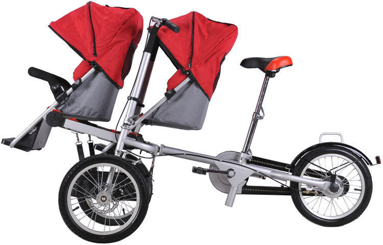 2017 hot sale mother baby tandem bike electric baby Motorized baby stroller