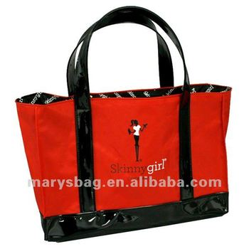 70 imperial nylon day tote with PVC patent bottom boot and wrap around handles
