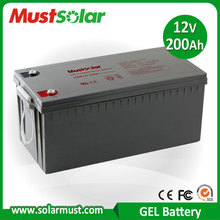 12V 200AH Solar energy and wind turbine system Gel Sealed Lead Acid Battery Made in China Manufacturer