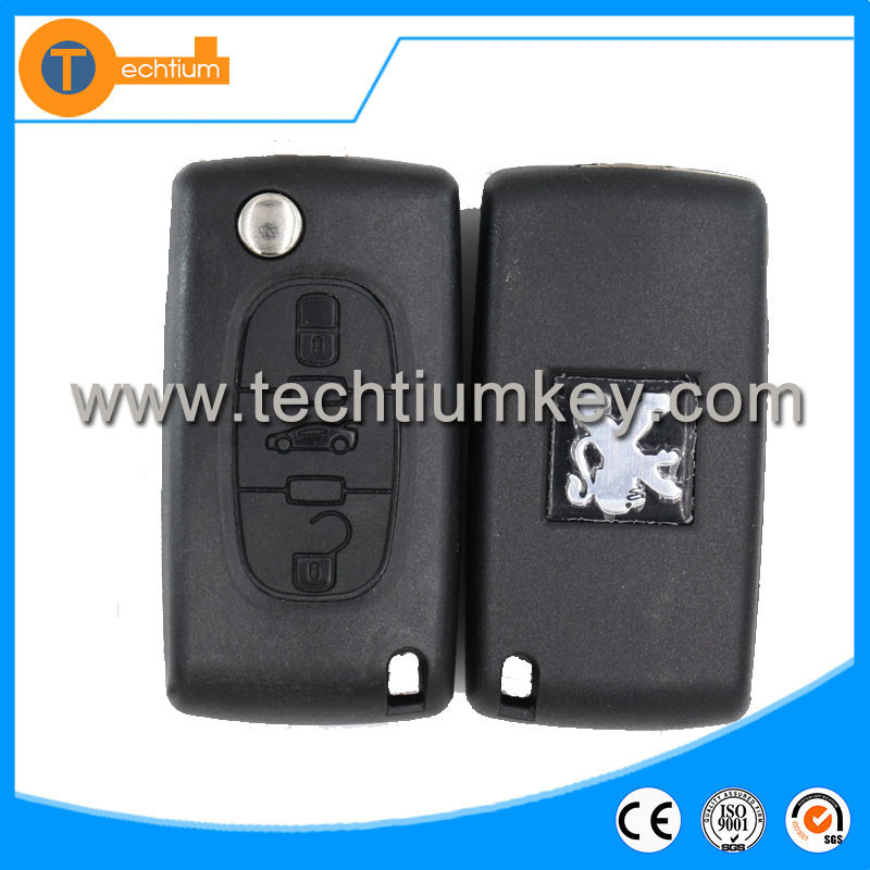 3 button remote key with car key 433mhz hu83 for peugeot 0536 model