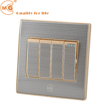 10 amp stainless steel rocker 4 gang 1 way or 2 way electric light switch for home or hotel
