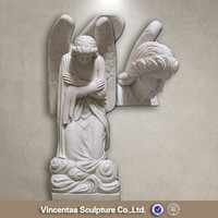 New design modern lawn decoration marble Kneeling Angel statue