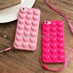 Candy color soft TPU Love heart shape case For iphone 7 7plus 6 6s 6plus