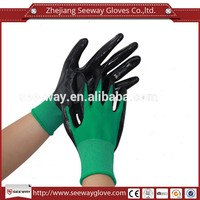 Seeway Oil Resistant Protective Gloves Knitted By Green Nylon And Black Nitrile Palm Coating For Working Safety