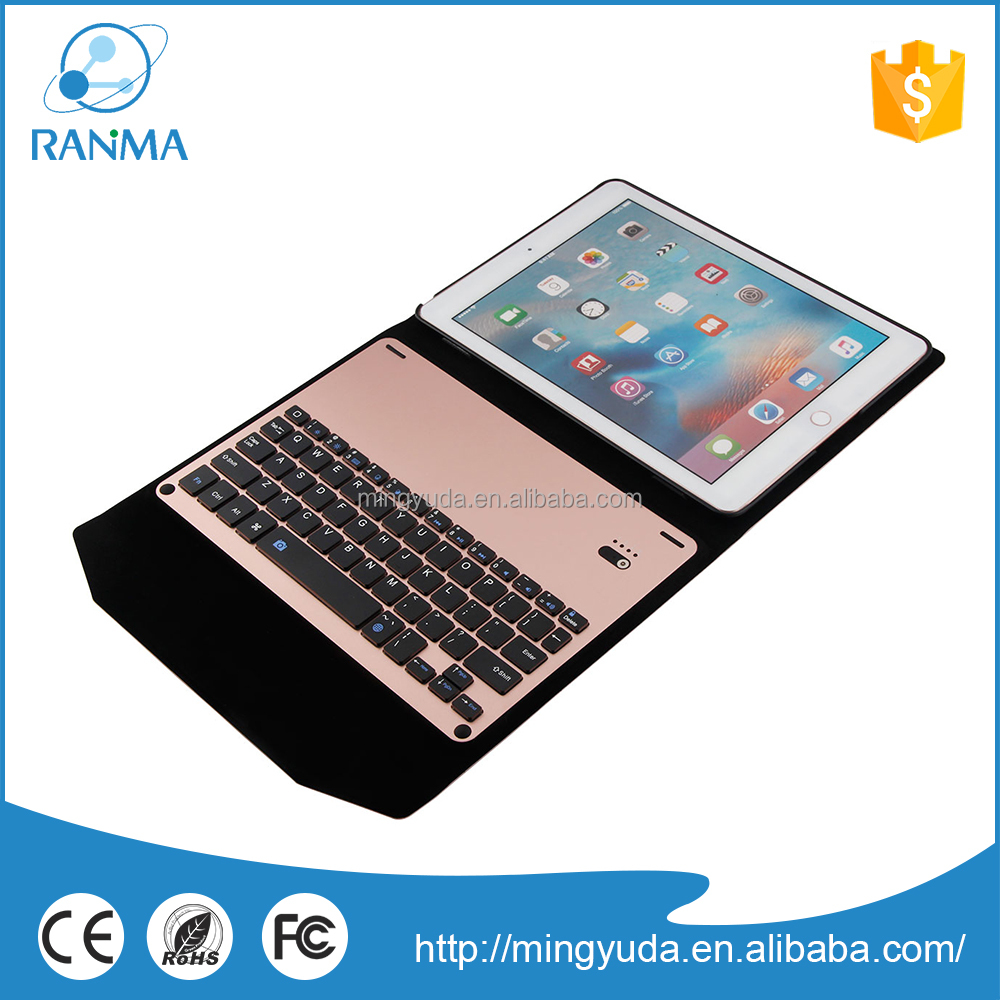 Ultrathin aluminium bluetooth keyboard leather case for ipad pro