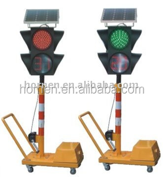 Portable solar powered LED traffic light with timer