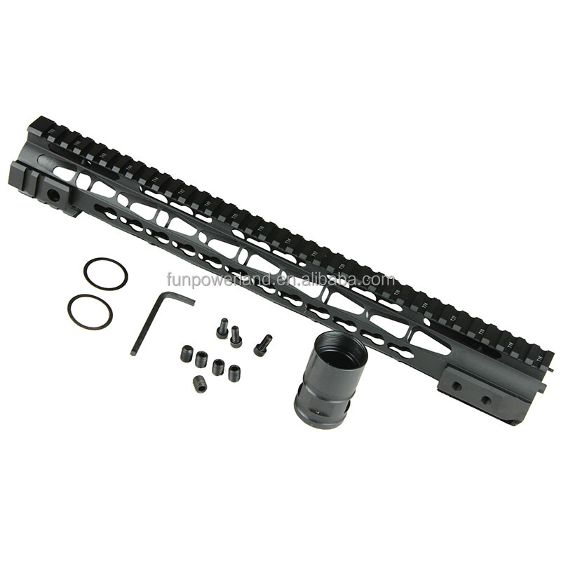 "Funpowerland Handguard 15"" One Piece Free Float Super Slim Quad Rail Keymod Free Nut Anodize"