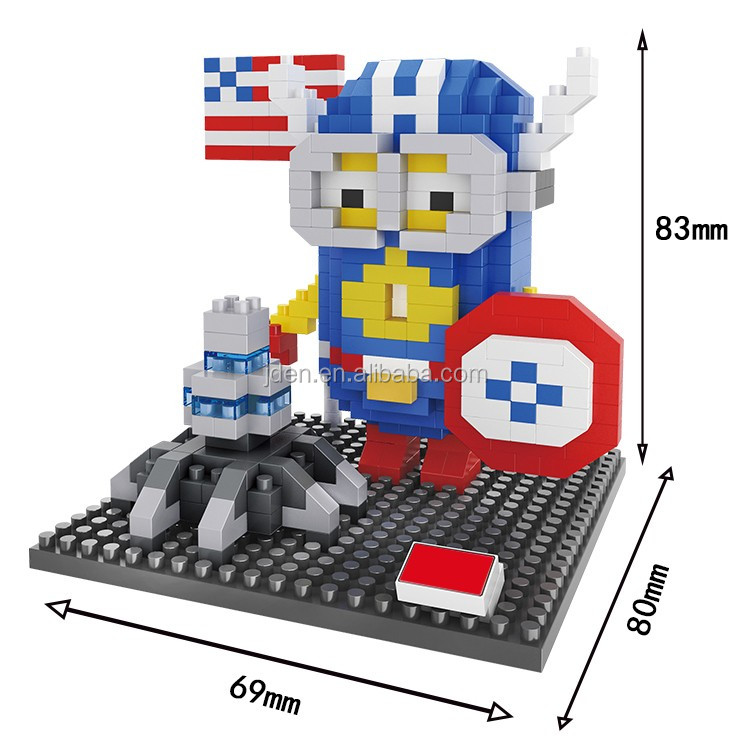 HSANHE Bulk Sales Movie Statue Big Eye and American Captain Cute Baby Girl nano block