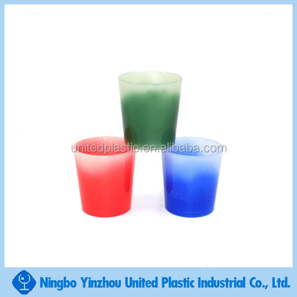 promotional cold water color change drinking shot glass 2oz