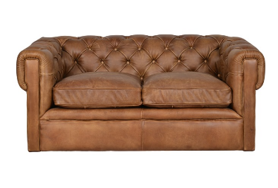 Soft Comfort Touch Feeting Bonded Leather Upholstered Chesterfield Loveseat Sofa