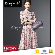 Environment-friendly printed silk chiffon floral dress fabric