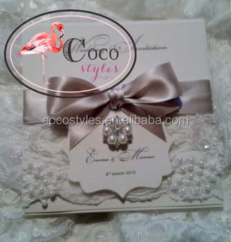 super luxury lace invitations with brooch