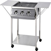 Trolley Pattern Stainless Steel BBQ Red Stone Grill