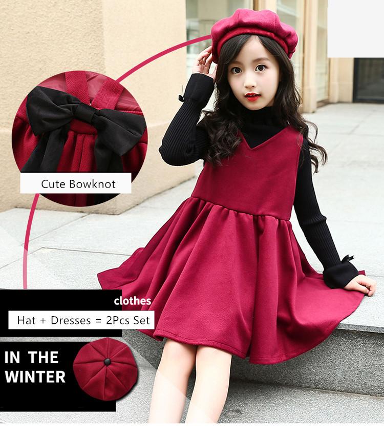 2pcs set red sleeveless winter dress kids party dresses for girls ... 06e628093b63