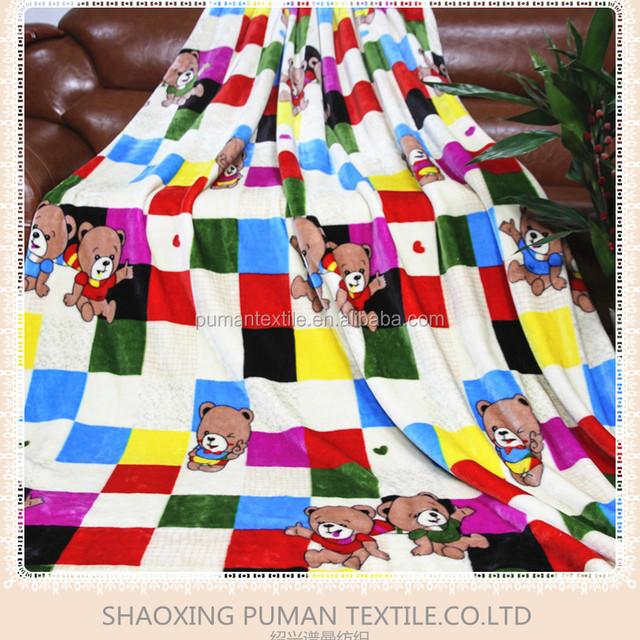 Flannel Fleece Blanket Super Soft Double Sides Fur block teddy bear cartoon pattern design children Blanket