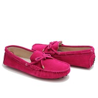 wholesale 2015 fashion moccasin lady shoes rose red