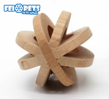 FX0096T 2017 trending pet products dog rolling ball wooden toys with small bell