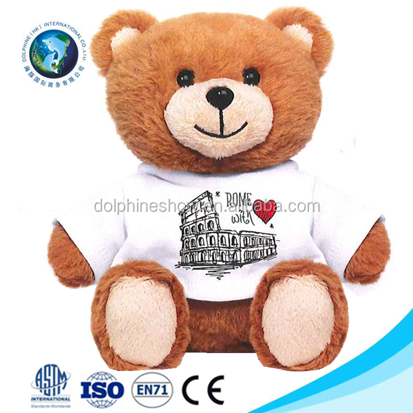 2016 Stuffed animal plush teddy bear toys wholesale promotional custom LOGO cute soft toy plush teddy bear t shirts