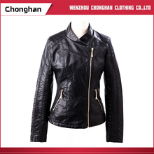 Chonghan New Arrival Black Simple Style Lady Motorcycle Leather Jacket