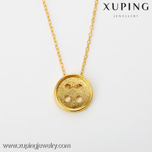 xuping fashion jewellery simple design gold plated Korea style fastener Necklace for girls