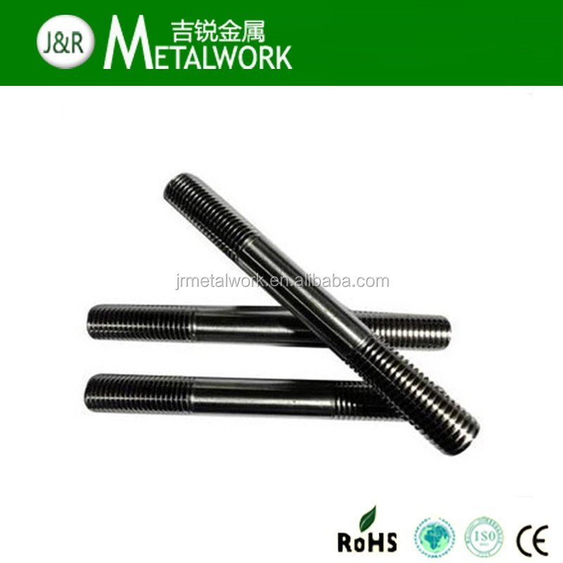 China suppliers fasteners DIN 835 Carbon steel black oxide double end threaded stud