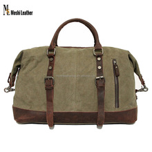 Waxed Green Army Canvas Duffel Bag with Leather Trim Canvas Travel Luggage Weekend Bag Canvas With Leather Shoulder Bag12031