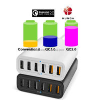 Qualcomm Quick Charge 2.0 60W 6 Ports USB Desktop Charging Station Wall Charger QC2.0 Charger for VR 3D Glasses