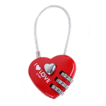 CH-28A Mini Cute 3 Digits Luggage Suitcase Padlock Red Heart Shape Cable Lock