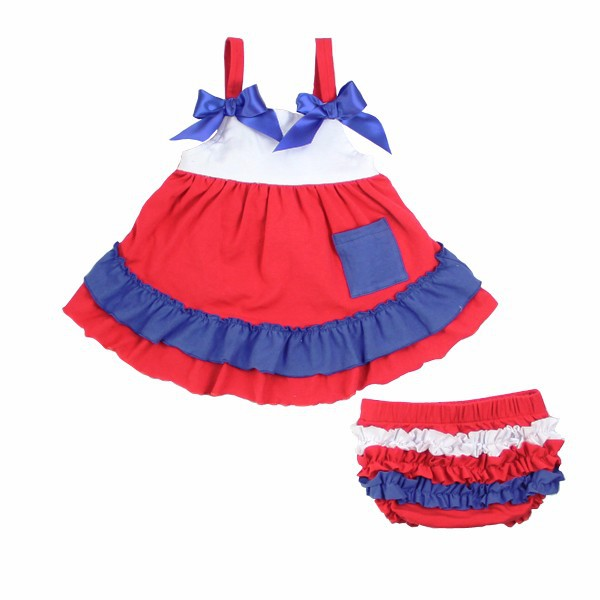 2015 new style summer cotton ruffly dress wholesale swing top bloomer set