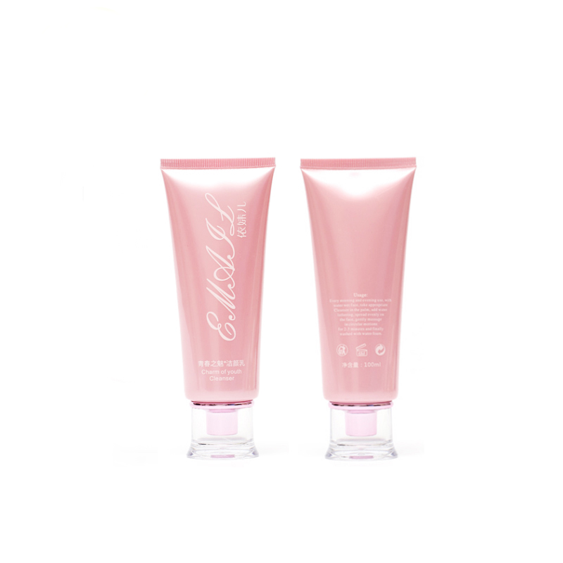 60ml pink glossy Cosmetic Squeeze <strong>tubes</strong> with plastic crystal cap