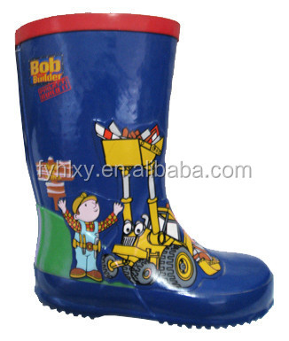 China wholesale water shoes cartoon boy print rubber rain footwear