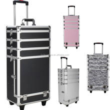 ABS Aluminum Trolley Case Rolling Makeup Case Cosmetic Case with Legs and wheel 4in 1 Silver