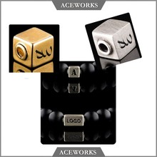CM9993 Aceworks 925 Sterling Silver brushed antique custom engraved metal beads with laser logo engraved beads