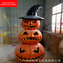 Decorative halloween pumpkin sculptures in fiberglass