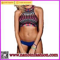 fashion colorful elastic push up bikini set high neck swimwear